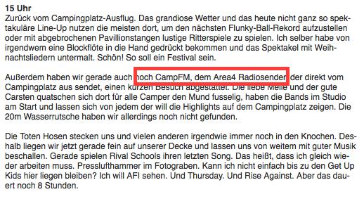 CampFM beim Area4 2009 - erwähnt im Blog.