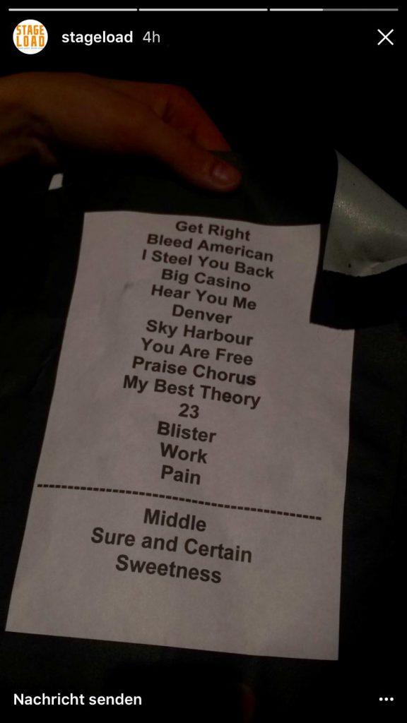 Setlist Jimmy Eat World Underground Cologne